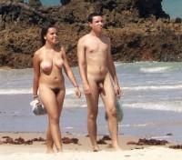 Hairy nude beach couple