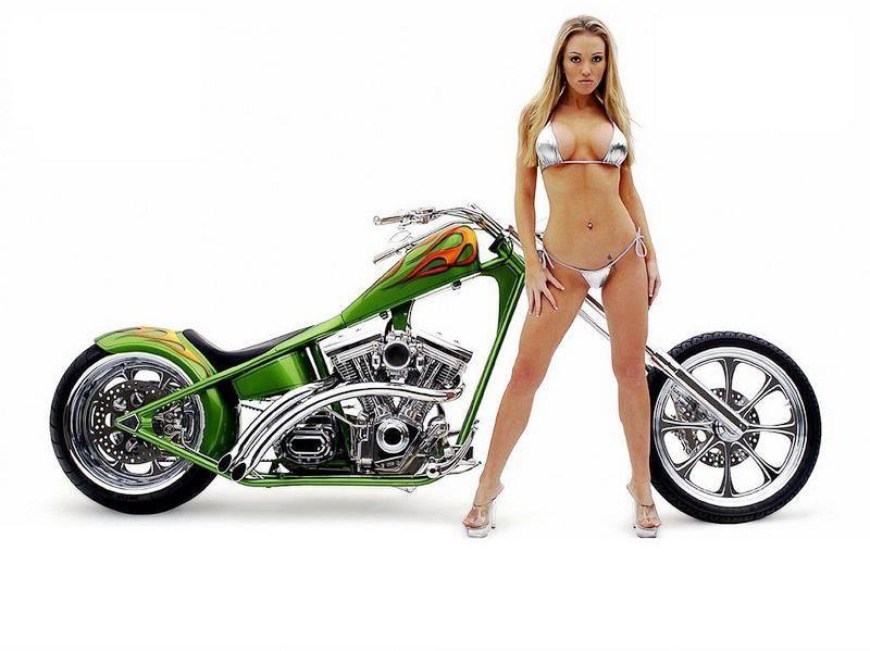 Nude girl on harley davidson poster