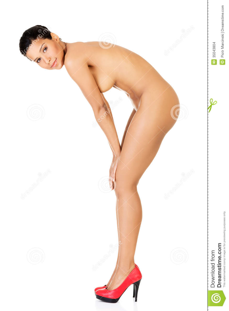 Naked woman in high heels