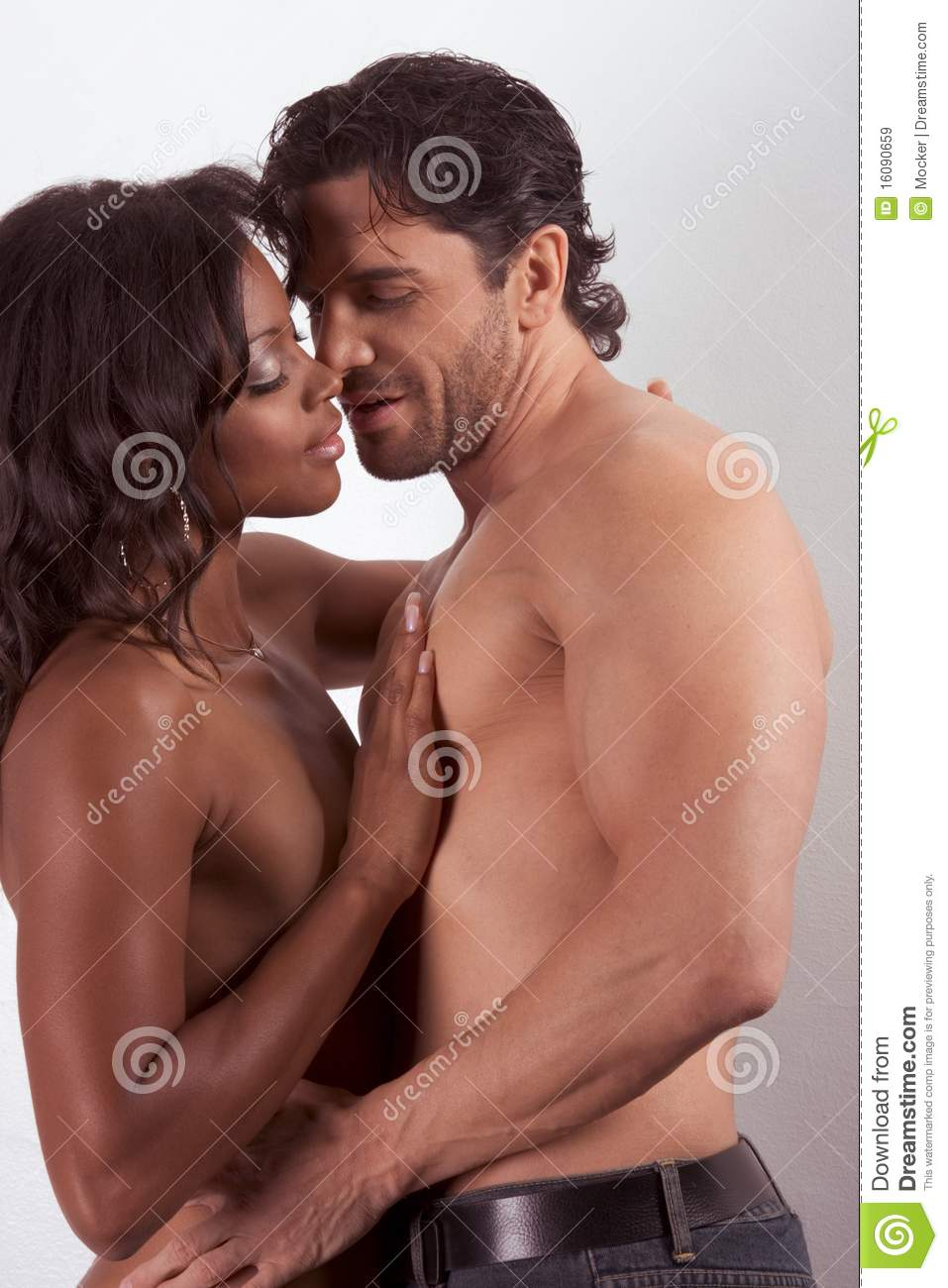 Nude black women white men kissing