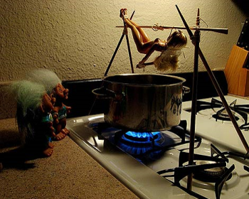 Cannibal cooking art girl