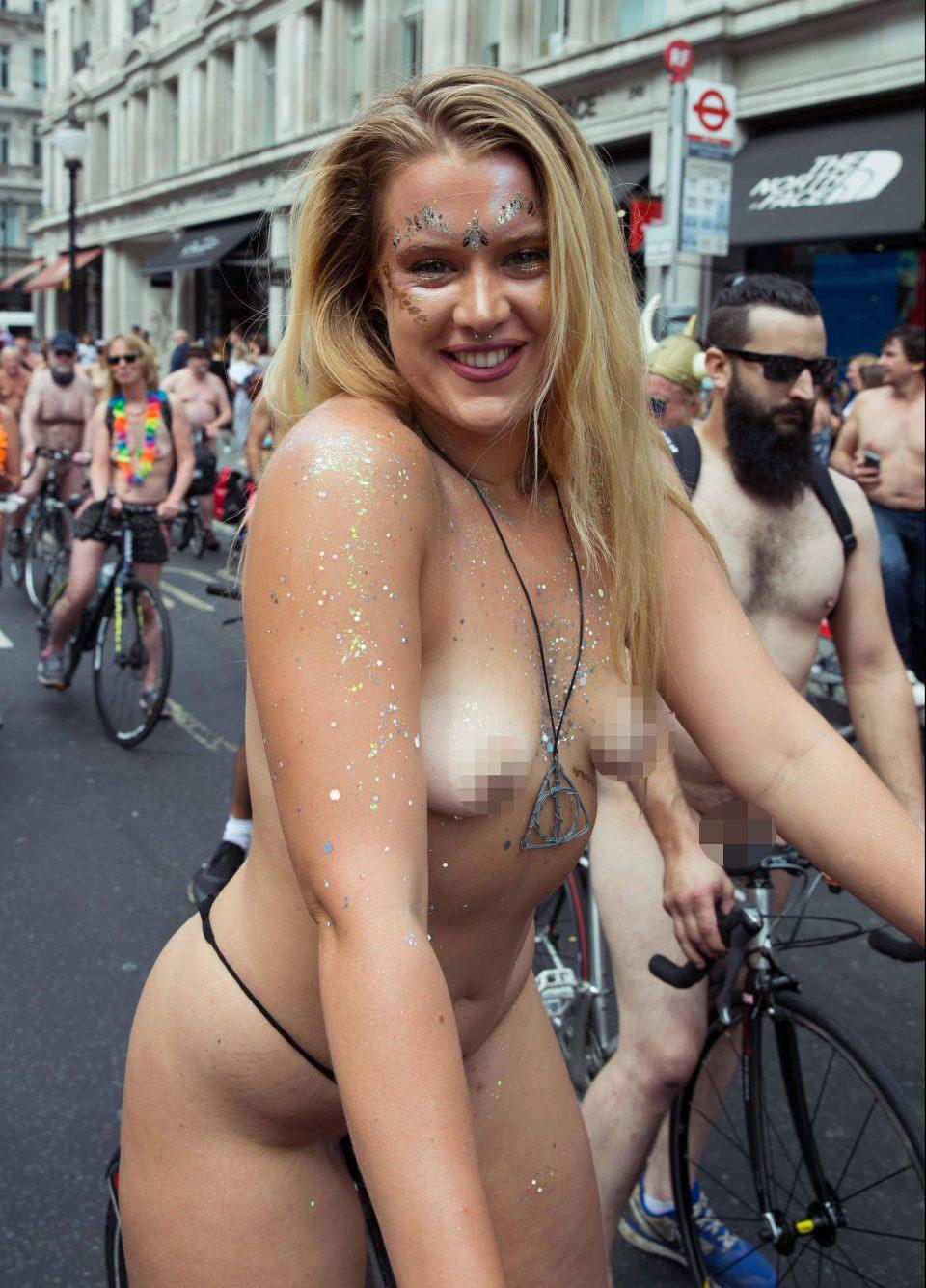 Naked ladies riding bicycles