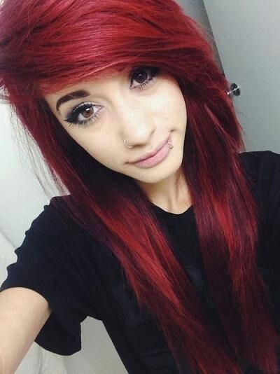 Cute scene girl with red hair