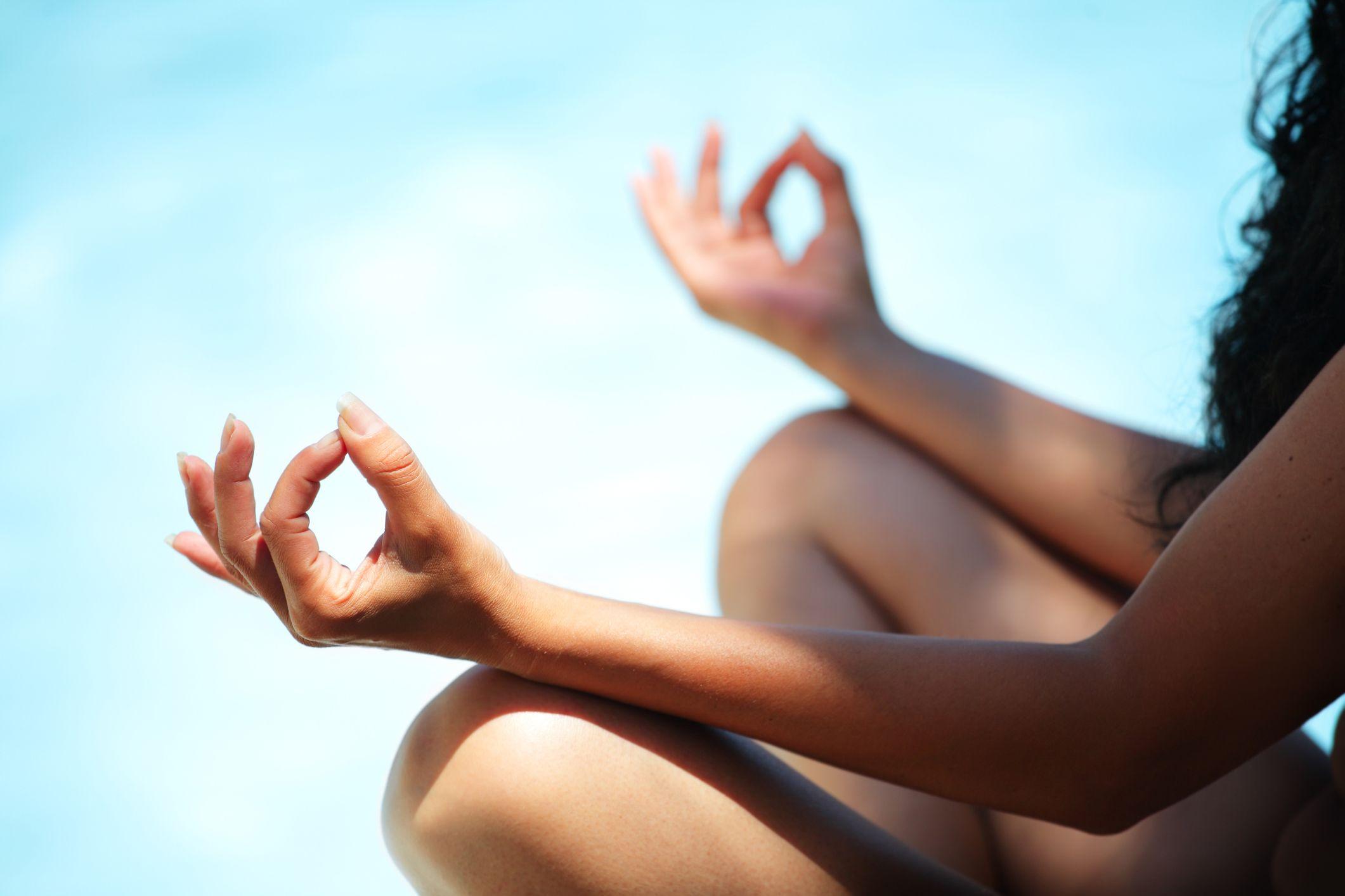 Nude yoga stretching exercises