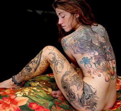 Sexy woman full body tattoos