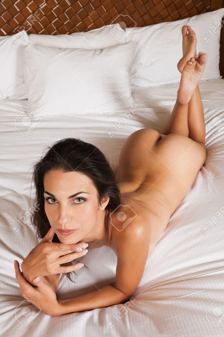 Beautiful woman nude bed