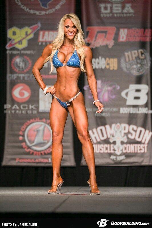Blonde bodybuilder in bikini