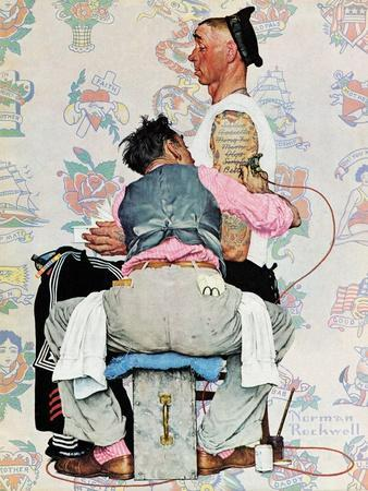 Norman rockwell tattoo painting