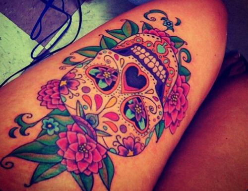 Sexy sugar skull girl tattoo designs