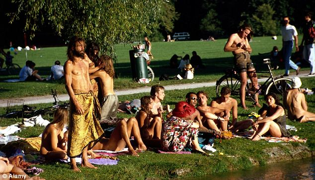 Nude sunbathing public park